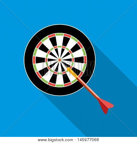 Darts icon in flat style with long shadow. Toy symbol vector illustration
