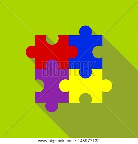 Puzzle icon in flat style with long shadow. Toy symbol vector illustration