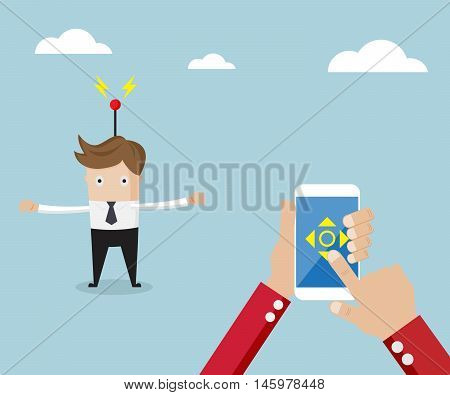 businessman controller from application on mobile smartphone vector illustration