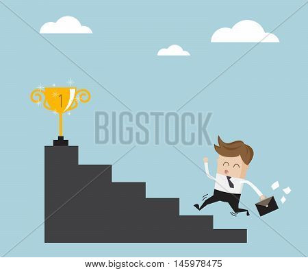 businessman running up stair for success business success concept vector illustration