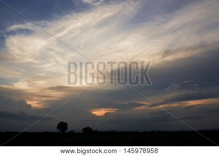 Cloudy evening sky and sunset in evening time
