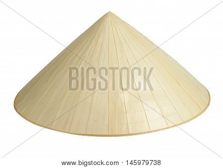 Straw traditional hat isolated on white background with clipping path