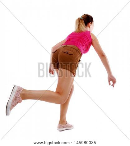 side view woman start position. Rear view people collection. Isolated over white background. Sport blond in brown shorts runs off into the distance.