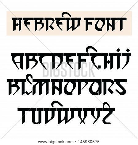 Vector font in Hebrew style. Stylized English alphabet.