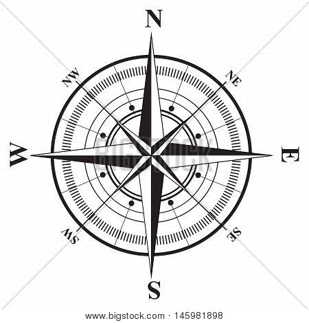 Compass rose isolated white bearing star component