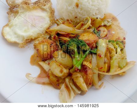 Fried Tofu With Mixed Vegetables In White Dish Isolate On White Background. Vegetarian Food, Healthy