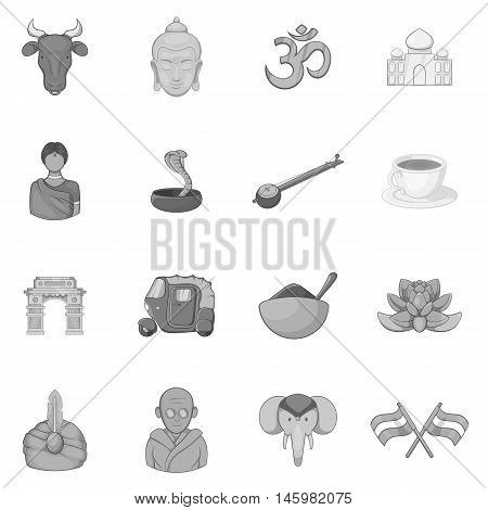 India icons set in black monochrome style. India attractions set collection vector illustration