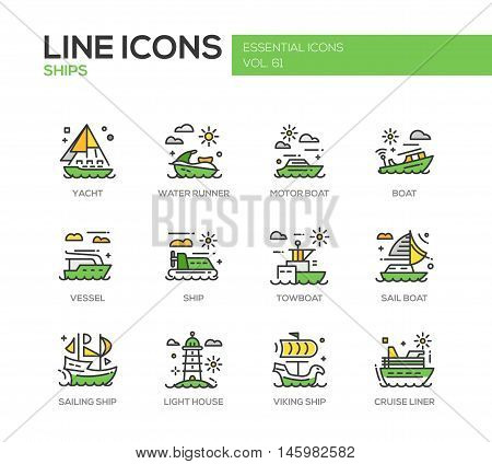 Ships - set of modern vector line design icons and pictograms. Yacht, water runner, motor boat, vessel, towboat, sailing ship, light house, viking ship, cruise liner
