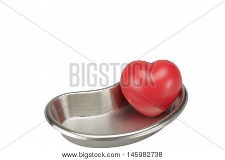 Red Heart In Stainless Steel Kidney-shaped Bowl Isolated