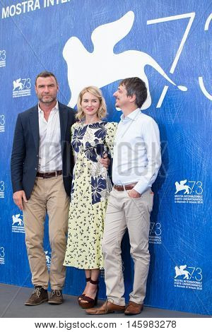 Liev Schreiber, Naomi Watts, Philippe Falardeau  at the photocall for The Bleeder at the 2016 Venice Film Festival. September 2, 2016  Venice, Italy