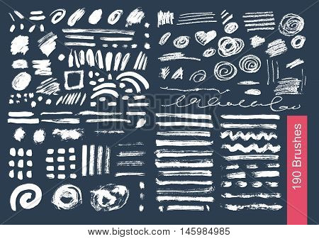 big set of 190 objects of vector brushes spots, blur, ink and chalk