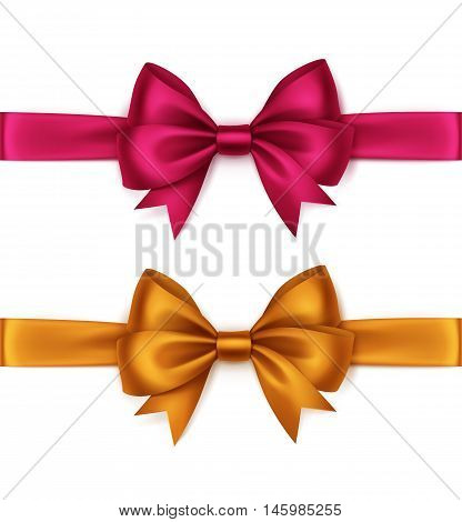 Vector Set of Shiny Orange Bright Pink Magenta Satin Bows and Ribbons Top View Close up Isolated on White Background