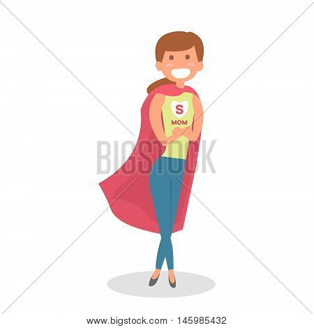 Mother Super hero. Mom hero isolated. Vector Illustration