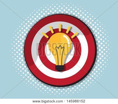 dart board with bulb idea comic background style vector illustration