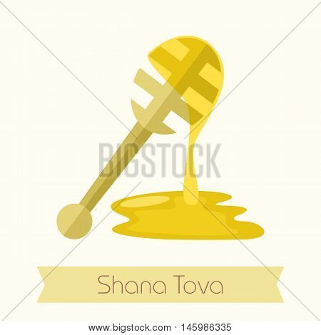 Honey dipper. Rosh Hashanah icon. Shana tova. Happy and sweet new year in Hebrew