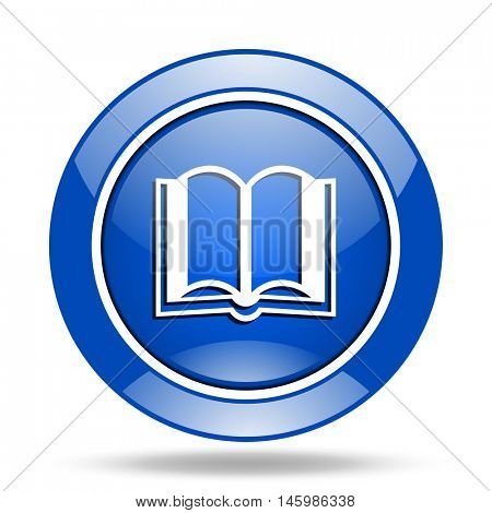 Modern design blue glossy web book vector icon. Eps 10 button.