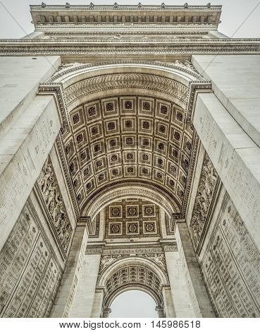 Arc de Triomphe interior  details - French architecture image with the interior of the Arc de Triomphe historical monument located in the center of the Paris France