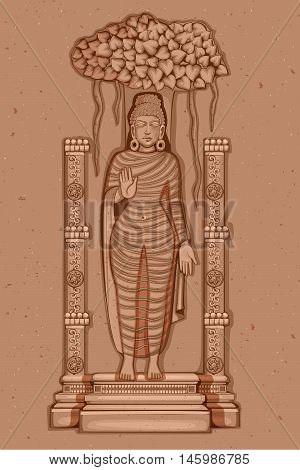 Vector design of Vintage statue of Indian Lord Buddha sculpture one of avatar from the Dashavatara of Vishnu engraved on stone