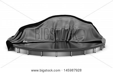 Car On The Podium Covered With A Black Satin Cloth Before Presentation. Side View. 3D Rendering