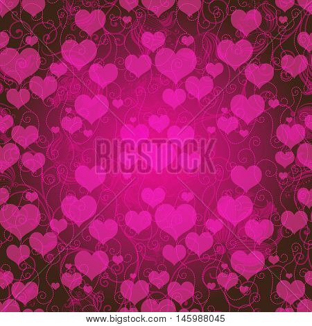 Valentine purple frame with pink translucent hearts and curls (vector eps10)