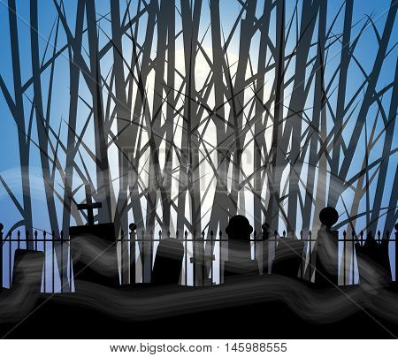 Graveyard cemetery tomb in foggy forest with full moon, Halloween background, vector illustration