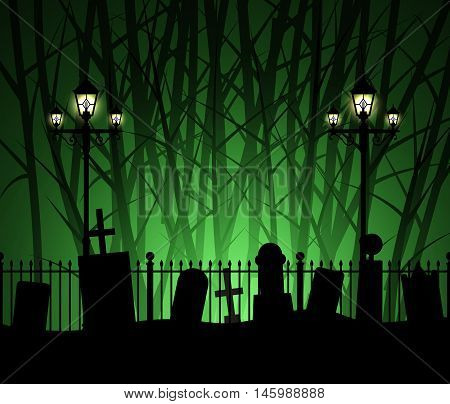 Graveyard cemetery tomb in forest with street lamp, Halloween background, vector illustration