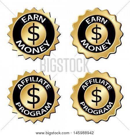 golden earn money affiliate program label vector