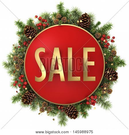 sale word with christmas decorations isolated on white background 3D illustration