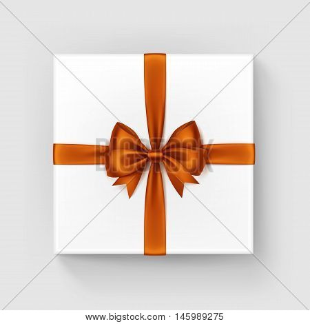 Vector White Square Gift Box with Shiny Orange Satin Bow and Ribbon Top View Close up Isolated on White Background