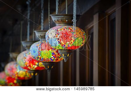Photo of Turkish Style Bright Multicolored Lanterns