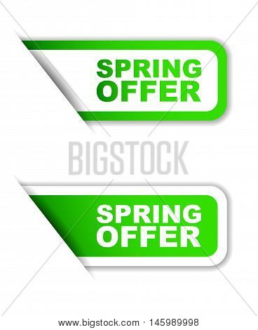 This is green vector paper sticker spring offer (two variant)