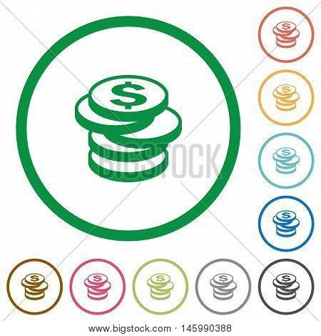 Set of Dollar coins color round outlined flat icons on white background
