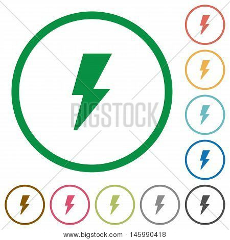 Set of flash color round outlined flat icons on white background