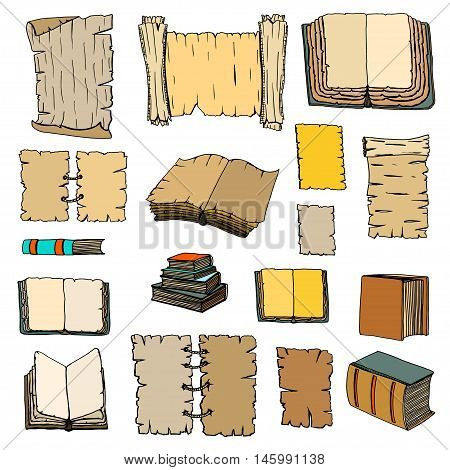 Hand Drawn Illustrations of Big Set Books and manuscripts. Doodle vector illustration isolated on light Colored background.