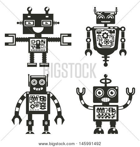 Robot icons. Robots black signs vector. Technology hitech cyborg characters with antenna illustration