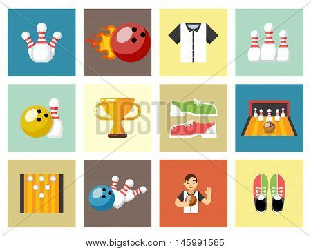 Bowling flat icons. Game signs. Skittles and cup, strike and shoes. Vector illustration
