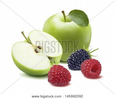 Green apple raspberry 2 isolated on white background as healthy package design element