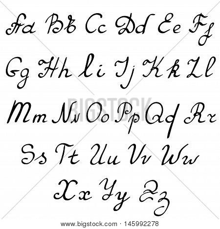 vector real hand Alphabet, uppercase and lowercase letters