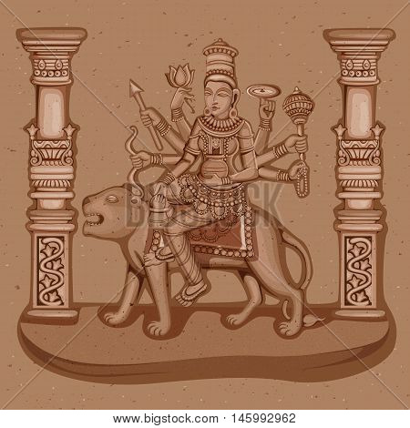 Vector design of Vintage statue of Indian Goddess Kushmanda sculpture one of avatar from Navadurga engraved on stone