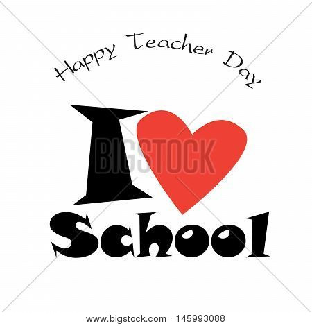 Happy teacher day abstract background with red heart. Vector illustration. World Teachers' Day is celebrated every year on 5th October.