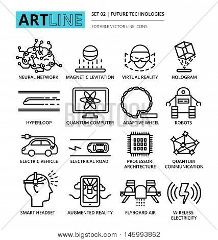 Modern editable vector line icons set of future technologies and development innovations for graphic and web design