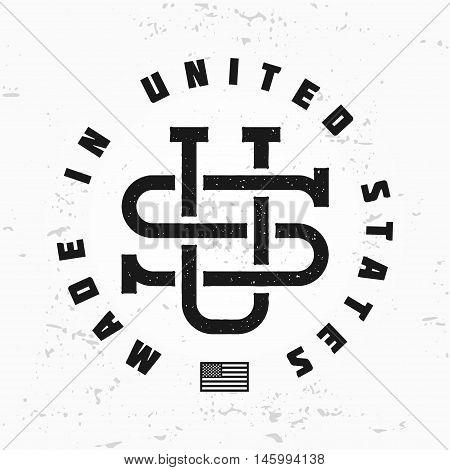 Made in USA monogram vector. Vintage America logo design. Retro United States seal. US label illustration. Hipster t-shirt graphic.