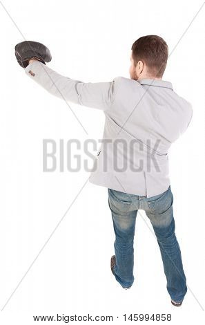 businessman with boxing gloves in fighting stance. Top view of a businessman strikes in boxing gloves.