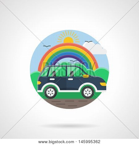 Blue empty car rides on a road with a colorful rainbow and sun on a background. Mode of transportation. Urban transport, vehicles for people. Round detailed flat color style vector icon.