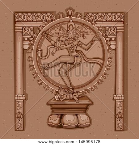 Vector design of Vintage statue of Indian Lord Shiva Nataraja sculpture engraved on stone