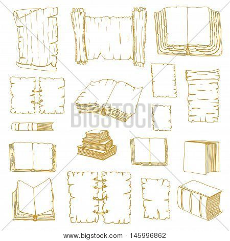Monochrome Hand Drawn Illustrations of Big Set Books manuscripts. Doodle vector illustration isolated on white background.