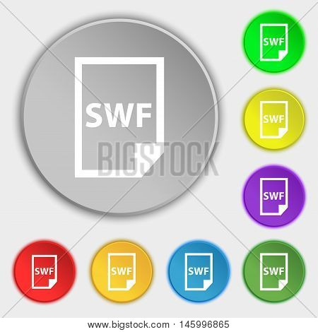 Swf File Icon Sign. Symbol On Eight Flat Buttons. Vector