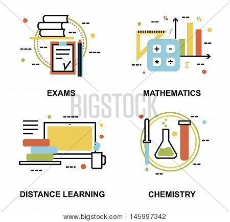 Modern flat thin line design vector illustration set of education concepts exams and distance learning process for graphic and web design