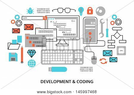 Modern flat editable line design vector illustration concept of programming development software and coding process for graphic and web design