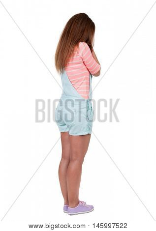 Back view of shocked woman. girl hid his eyes behind his hands.  Rear view people collection.  backside view of person.  Isolated over white background.